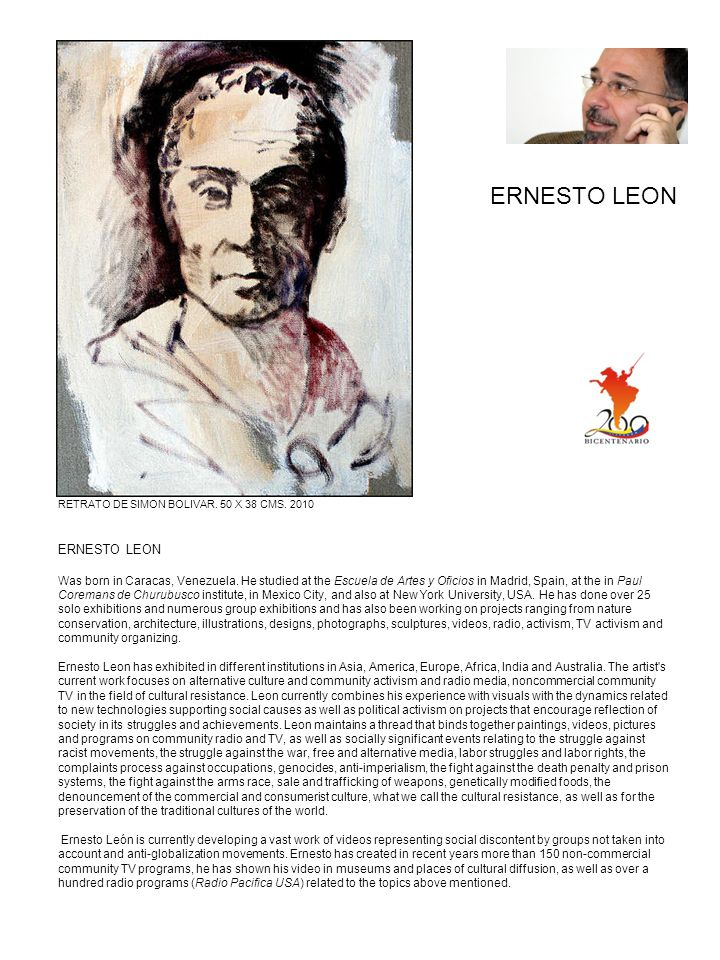 ERNESTO LEON RETRATO DE SIMON BOLIVAR. 50 X 38 CMS. 2010.