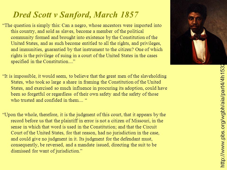 Dred Scott v Sanford, March 1857