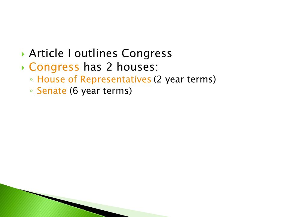 Article I outlines Congress Congress has 2 houses: