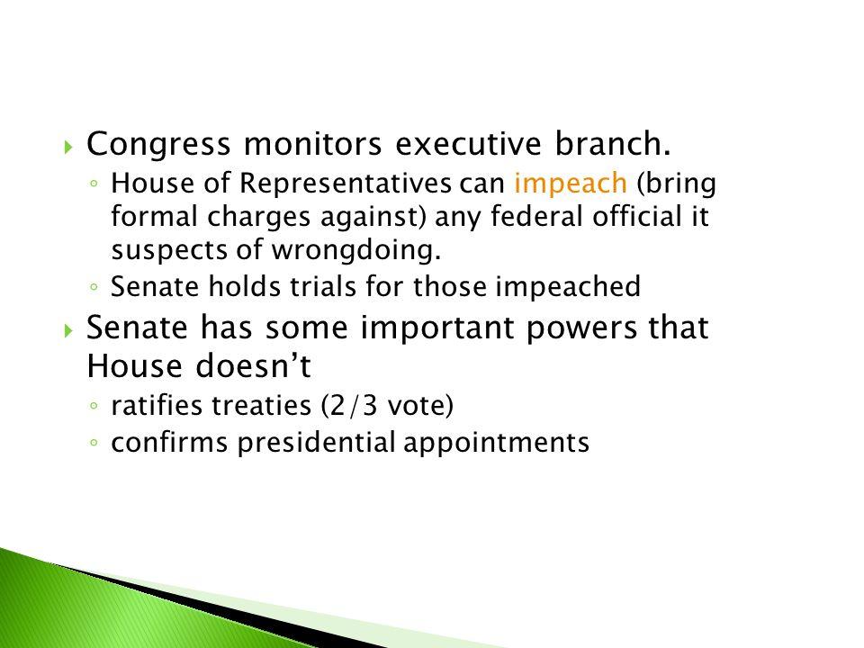 Congress monitors executive branch.