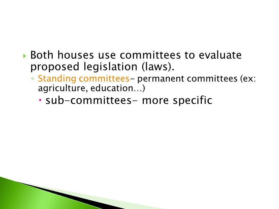 Both houses use committees to evaluate proposed legislation (laws).