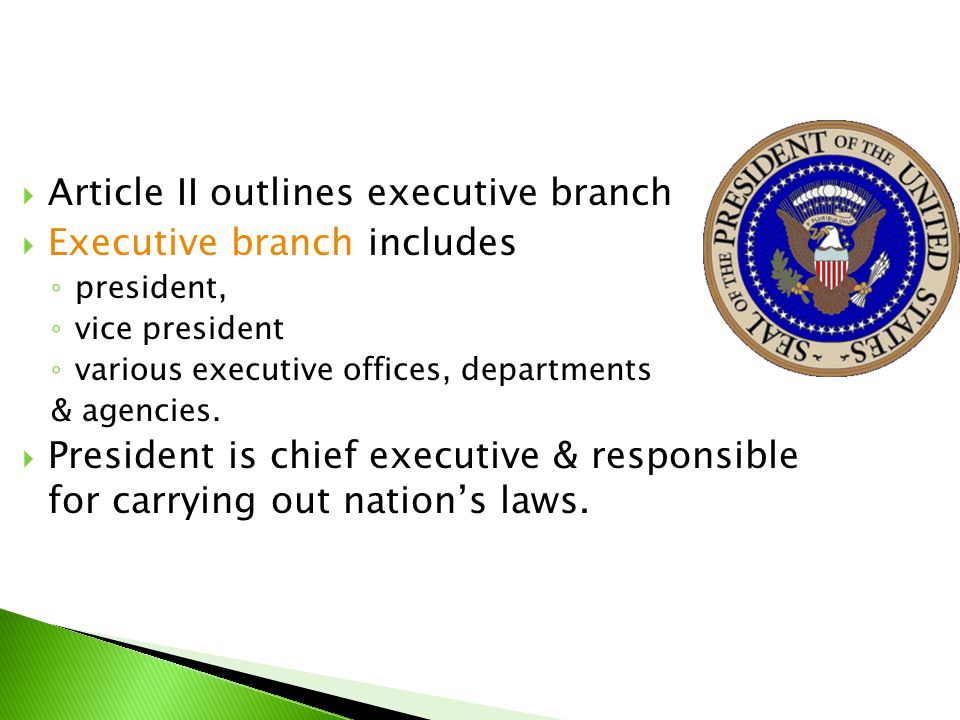 Article II outlines executive branch Executive branch includes