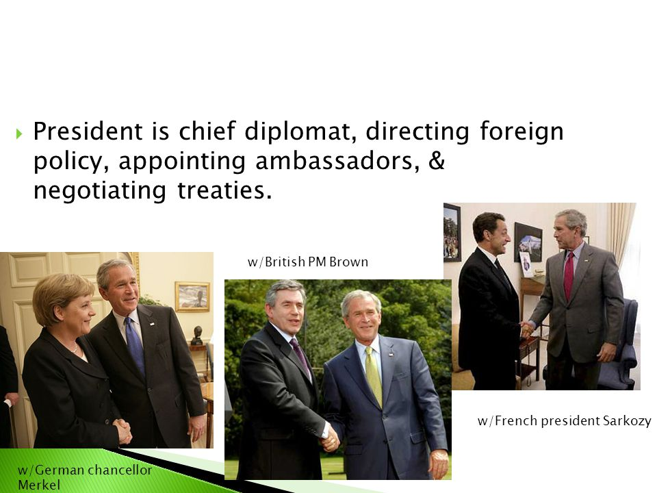 President is chief diplomat, directing foreign policy, appointing ambassadors, & negotiating treaties.