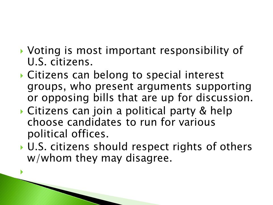 Voting is most important responsibility of U.S. citizens.