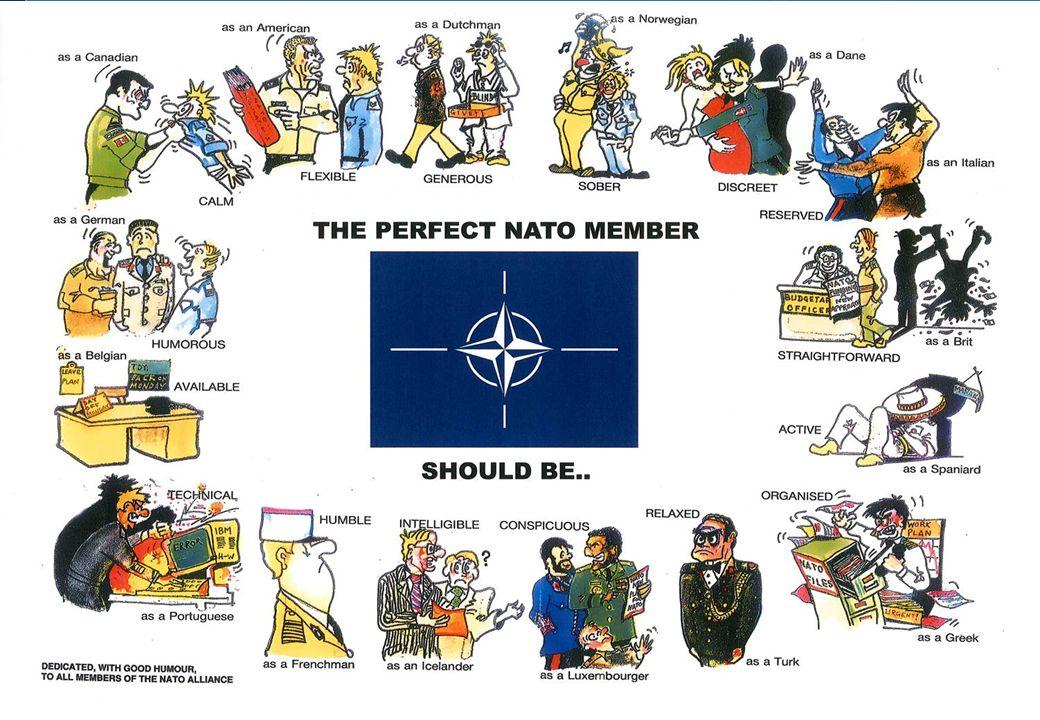 The Infine una slide che rappresenta come dovrebbe essere il perfetto membro della NATO.