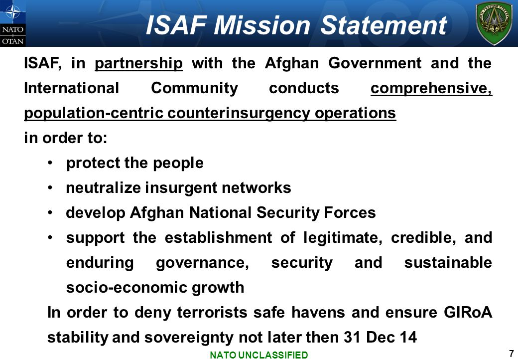ISAF Mission Statement