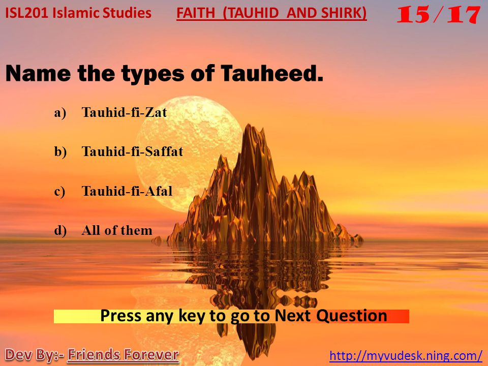 Name the types of Tauheed.