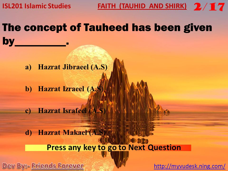 The concept of Tauheed has been given by_________.