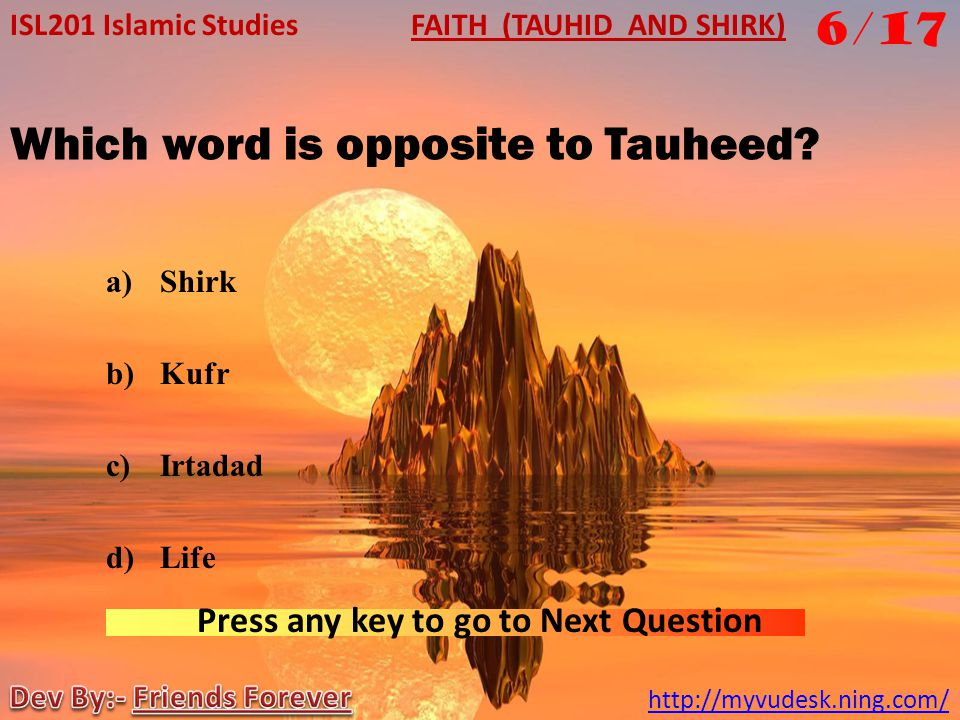 Which word is opposite to Tauheed