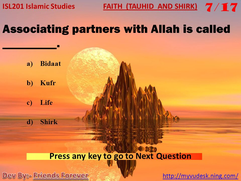 Associating partners with Allah is called _________.