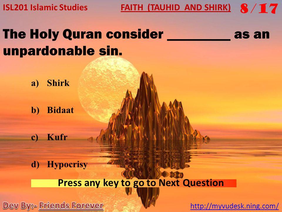 The Holy Quran consider _________ as an unpardonable sin.