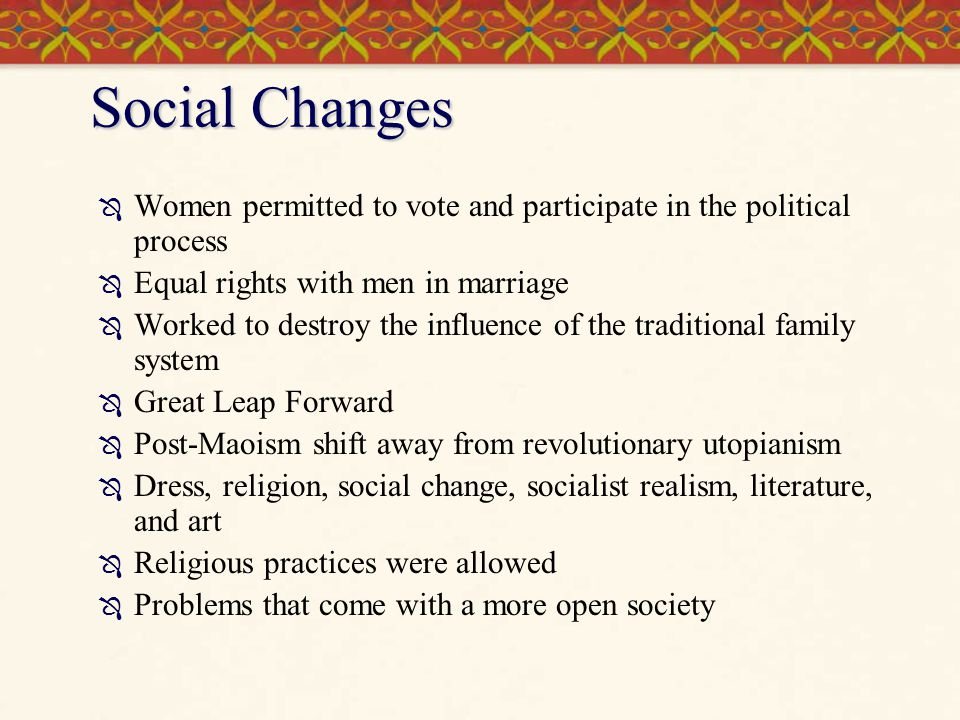 Social Changes Women permitted to vote and participate in the political process. Equal rights with men in marriage.