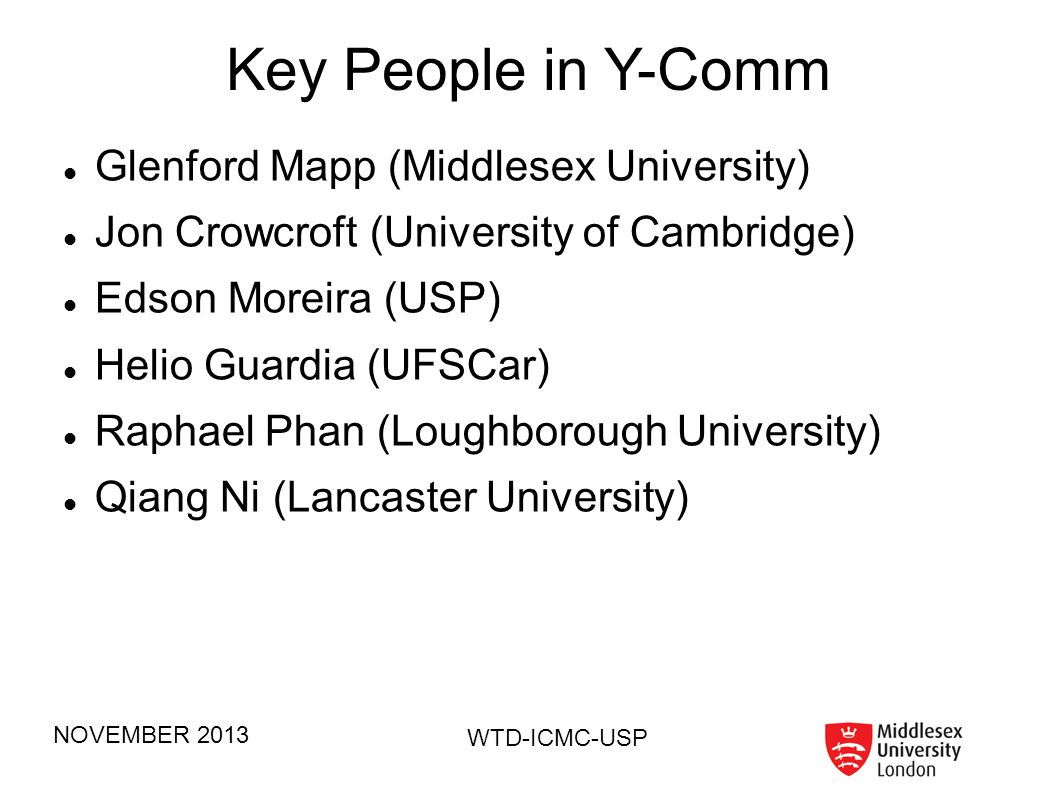 Key People in Y-Comm Glenford Mapp (Middlesex University)