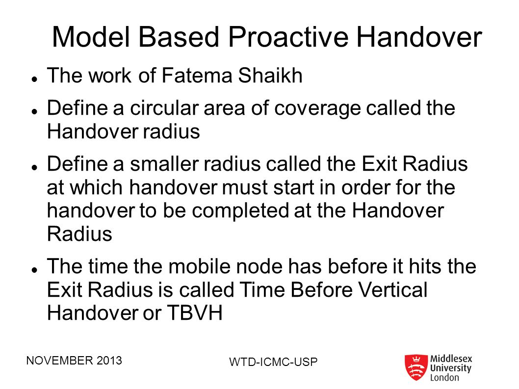 Model Based Proactive Handover