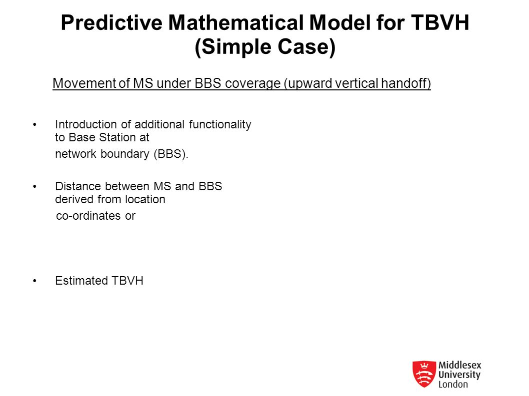 Predictive Mathematical Model for TBVH (Simple Case)