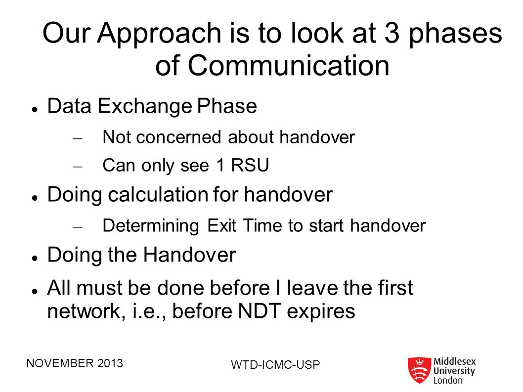 Our Approach is to look at 3 phases of Communication