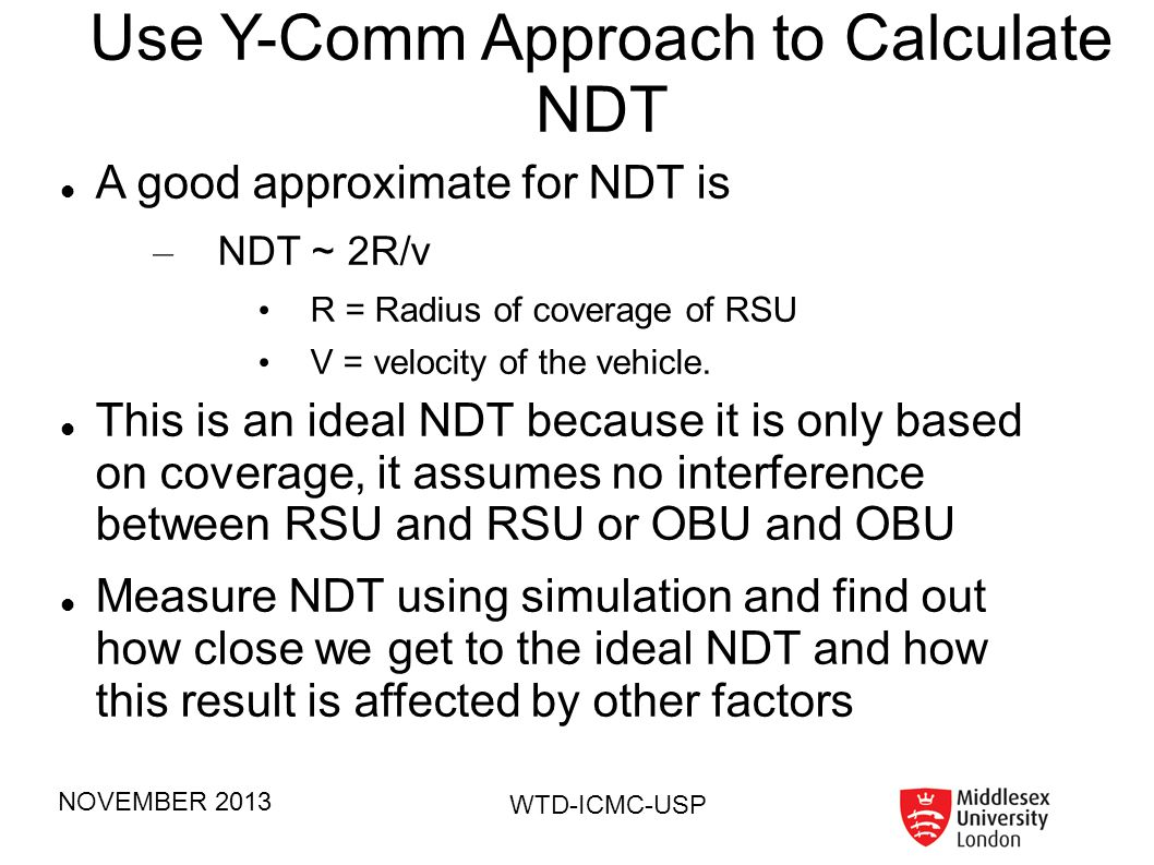 Use Y-Comm Approach to Calculate NDT