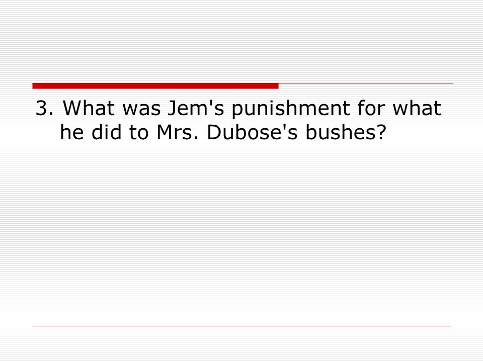 3. What was Jem s punishment for what he did to Mrs. Dubose s bushes
