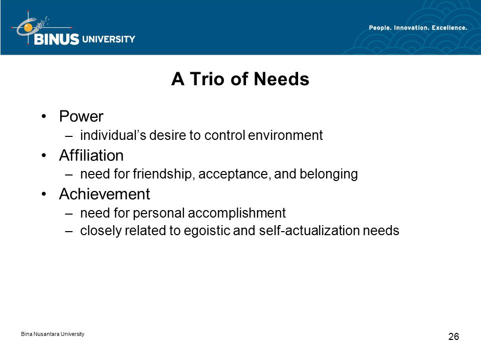 A Trio of Needs Power Affiliation Achievement