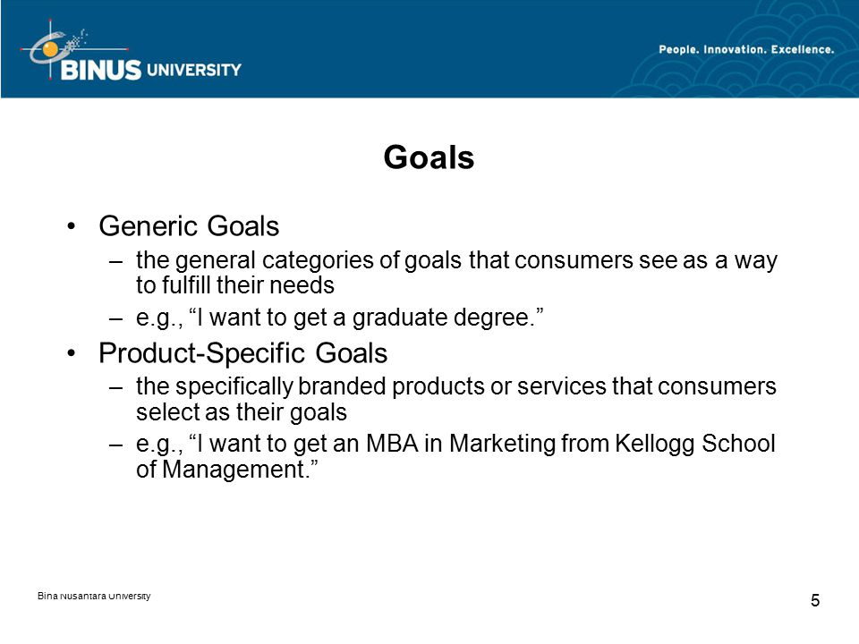 Goals Generic Goals Product-Specific Goals