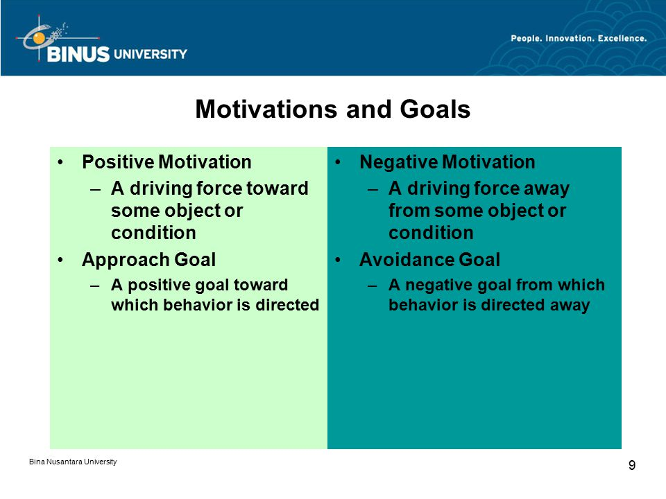 Motivations and Goals Positive Motivation