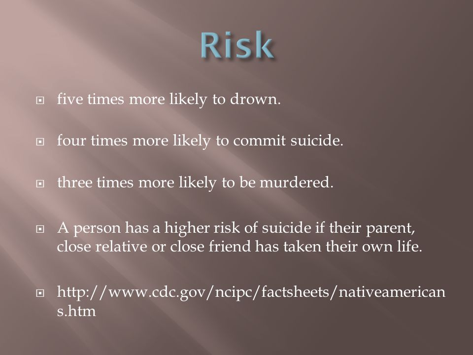 Risk five times more likely to drown.