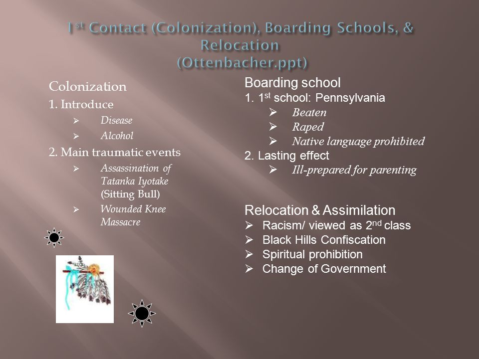 1st Contact (Colonization), Boarding Schools, & Relocation (Ottenbacher.ppt)