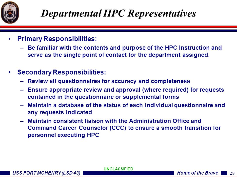 Departmental HPC Representatives