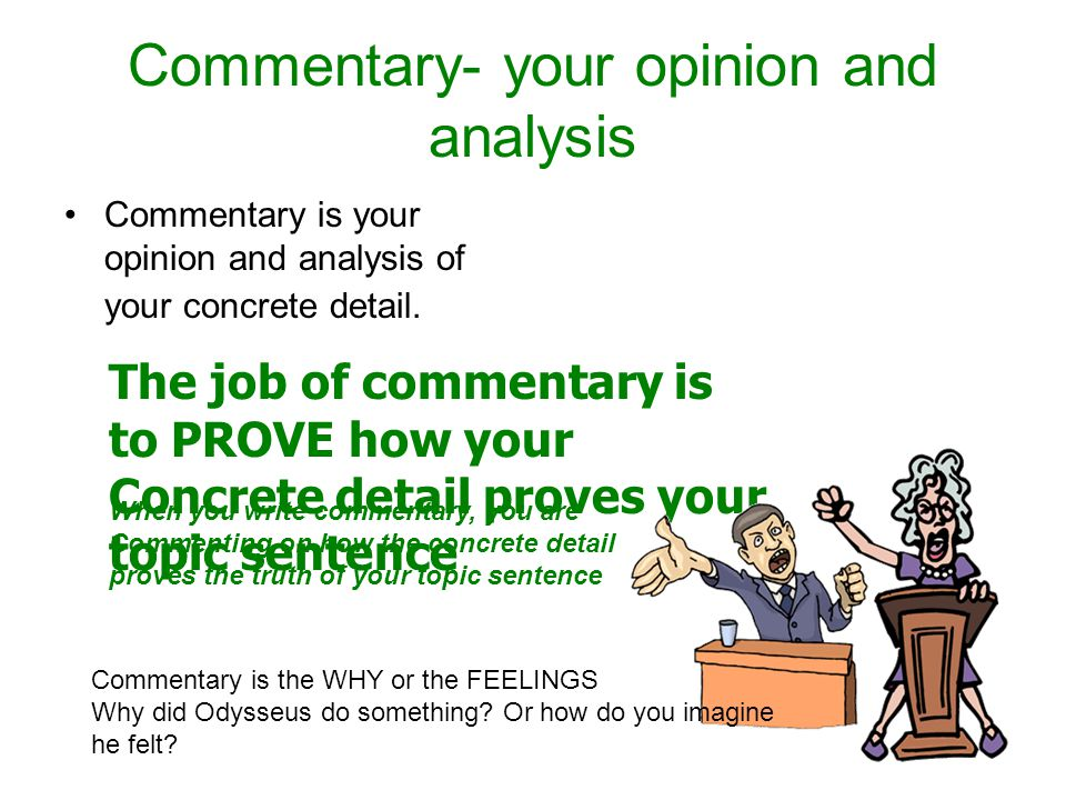 Commentary- your opinion and analysis