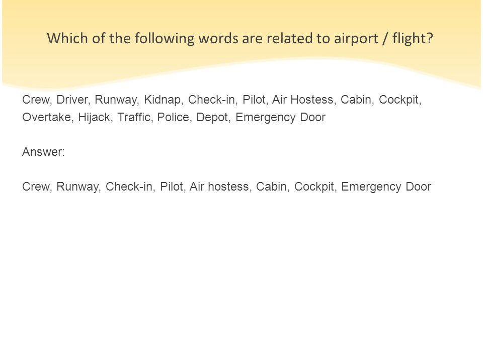 Which of the following words are related to airport / flight
