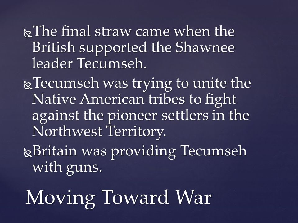 The final straw came when the British supported the Shawnee leader Tecumseh.