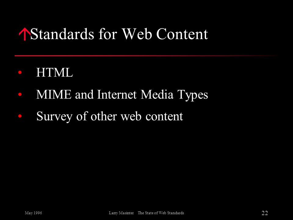 Standards for Web Content