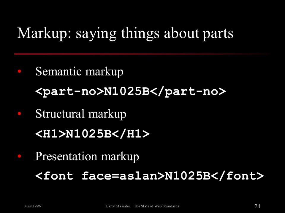 Markup: saying things about parts