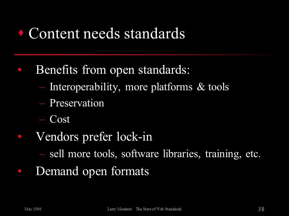 Content needs standards