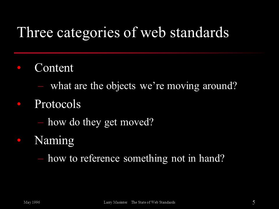Three categories of web standards