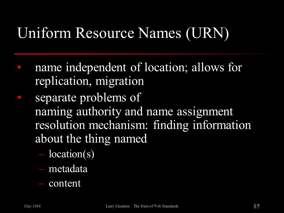 Uniform Resource Names (URN)