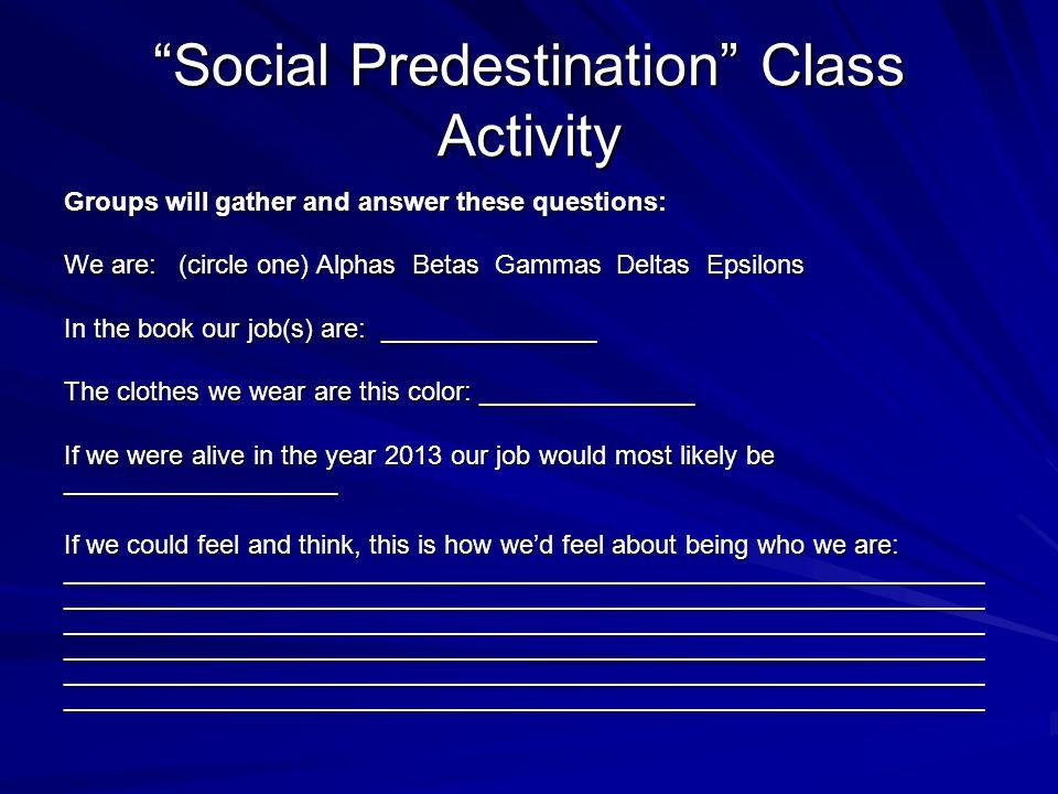 Social Predestination Class Activity