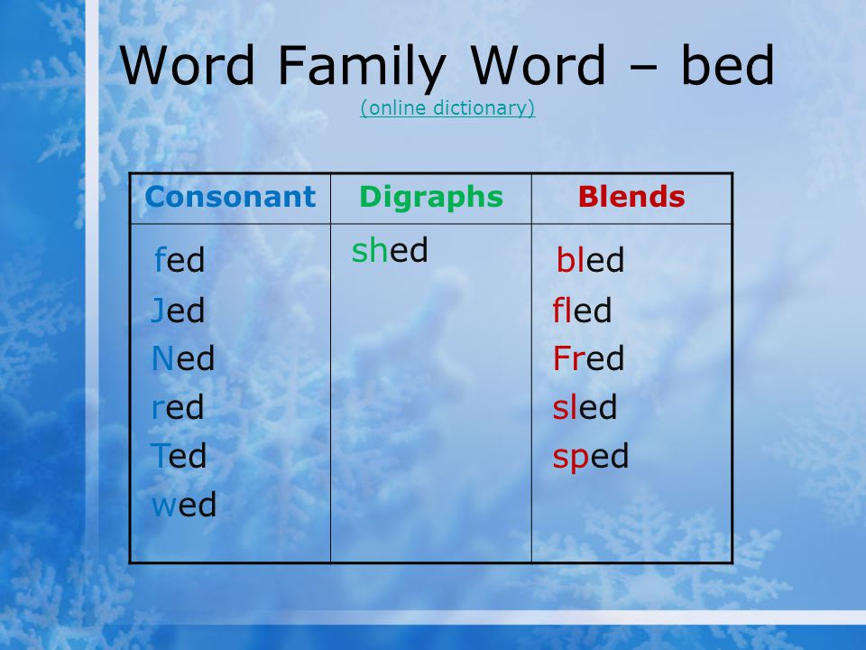 Word Family Word – bed (online dictionary)