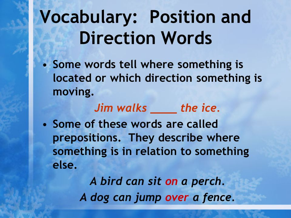 Vocabulary: Position and Direction Words