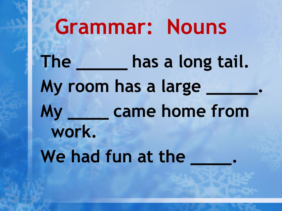 Grammar: Nouns The _____ has a long tail. My room has a large _____.