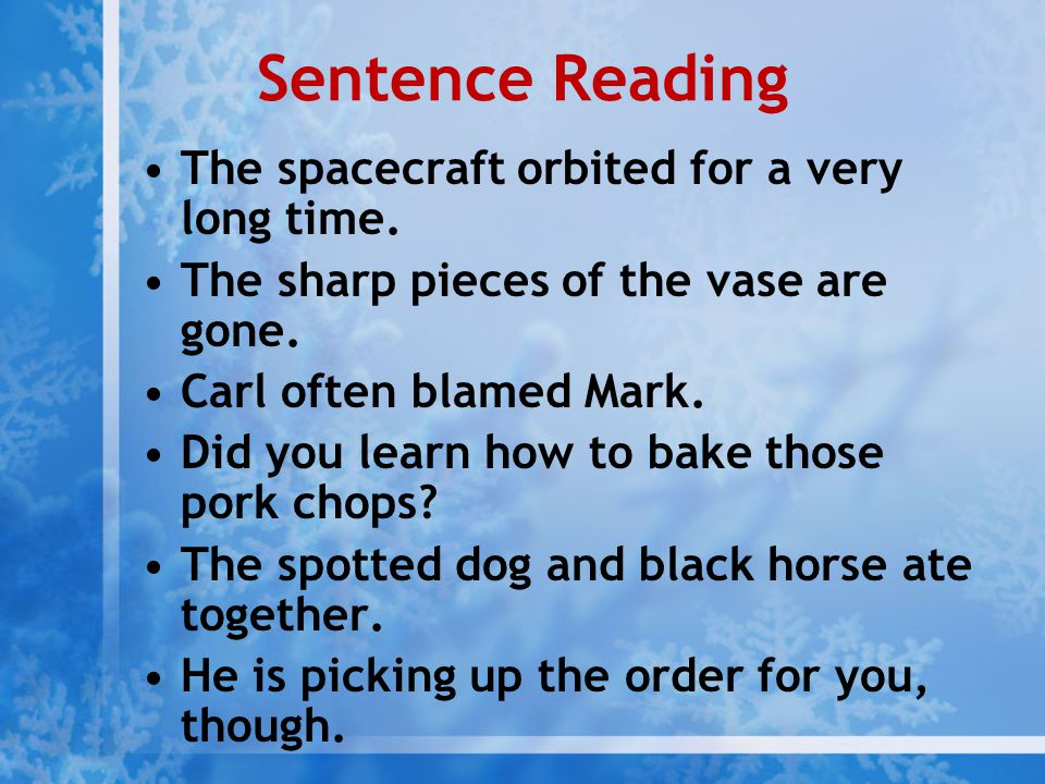 Sentence Reading The spacecraft orbited for a very long time.
