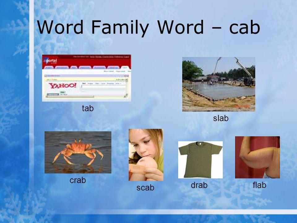 Word Family Word – cab tab slab crab drab flab scab