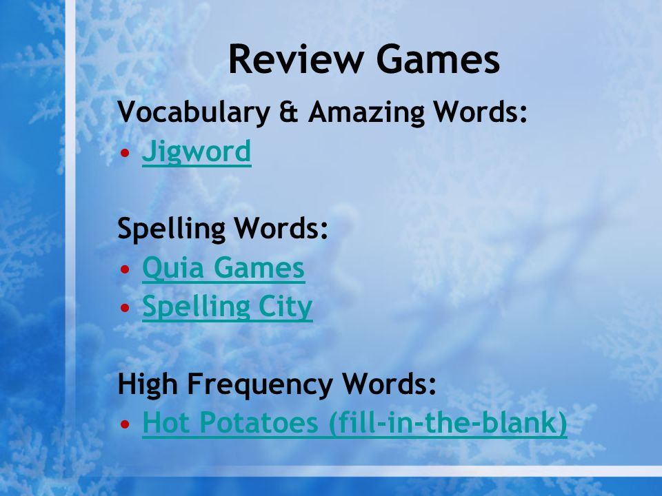 Review Games Vocabulary & Amazing Words: Jigword Spelling Words: