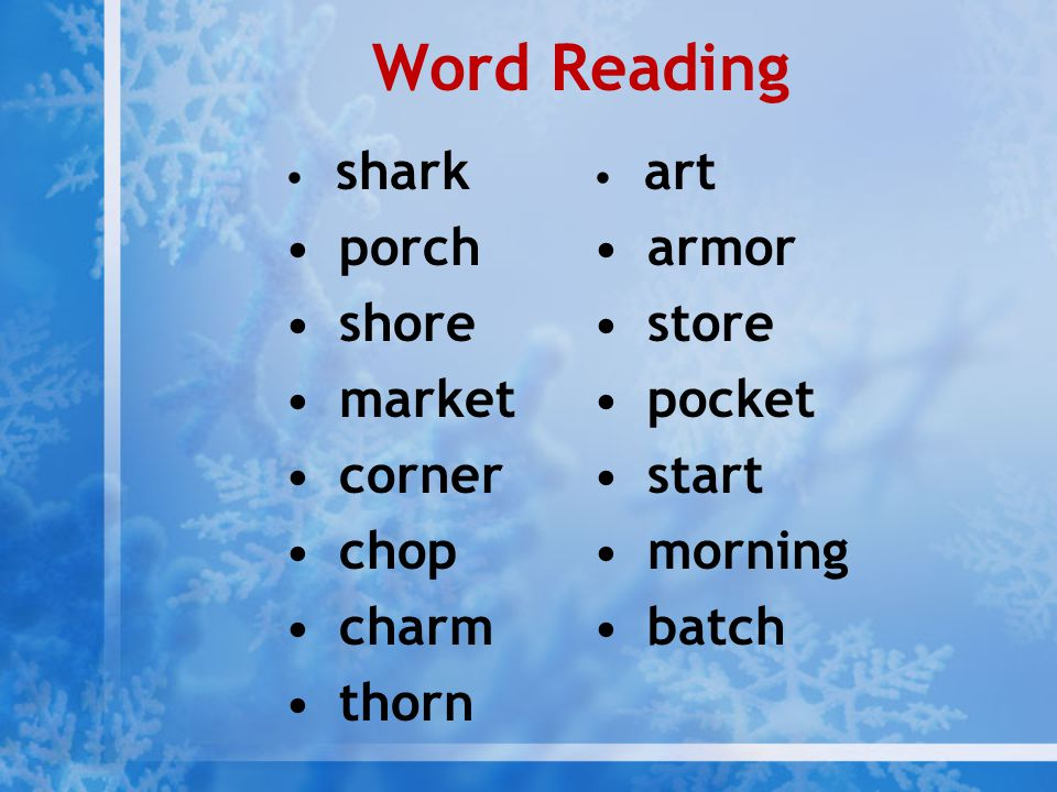 Word Reading porch shore market corner chop charm thorn armor store