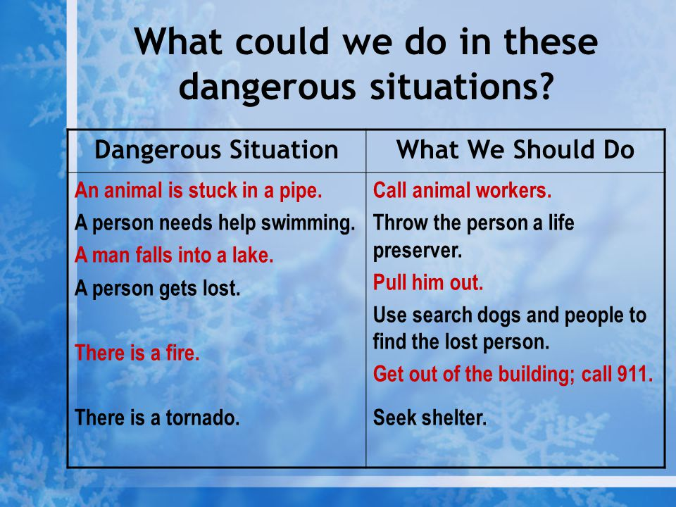 What could we do in these dangerous situations
