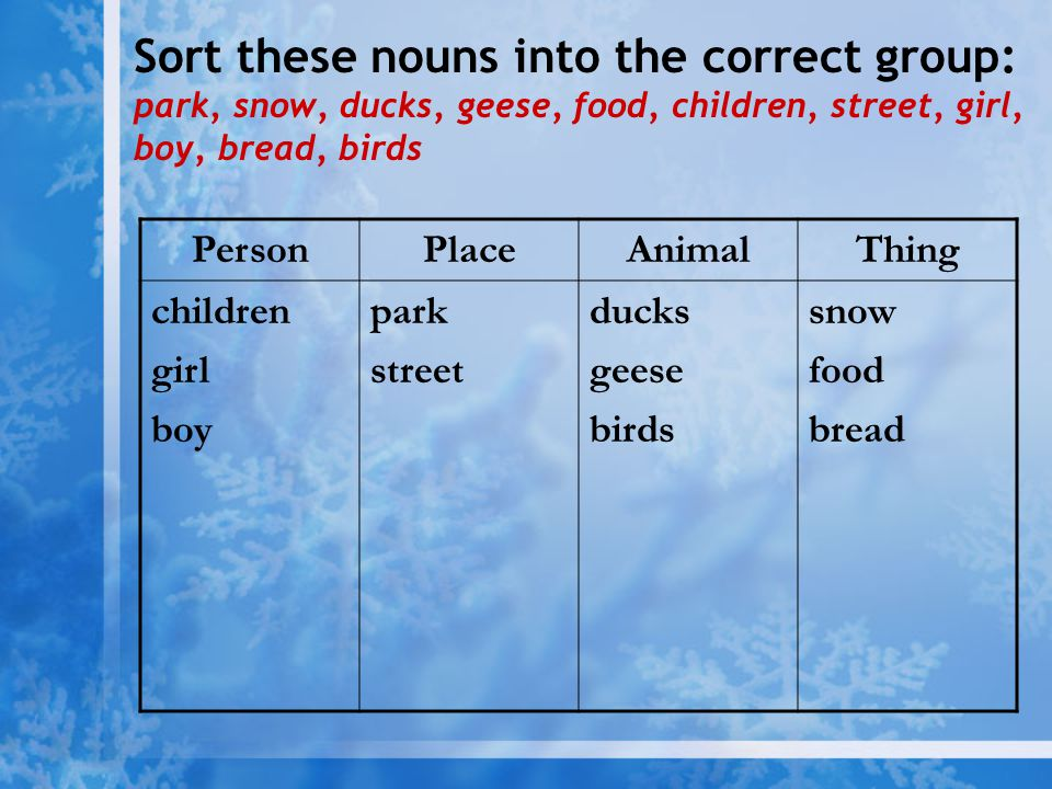 Sort these nouns into the correct group: park, snow, ducks, geese, food, children, street, girl, boy, bread, birds