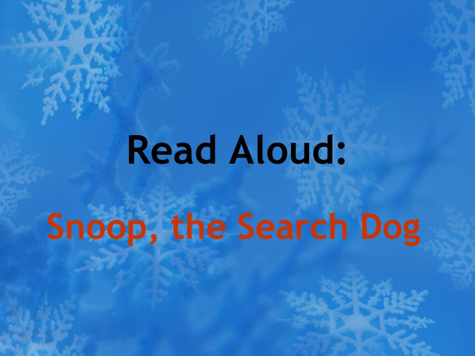 Read Aloud: Snoop, the Search Dog
