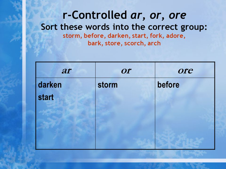 r-Controlled ar, or, ore Sort these words into the correct group: storm, before, darken, start, fork, adore, bark, store, scorch, arch