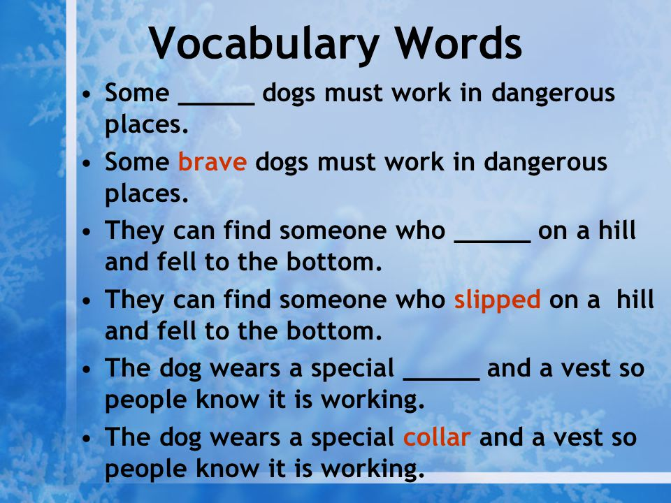 Vocabulary Words Some _____ dogs must work in dangerous places.