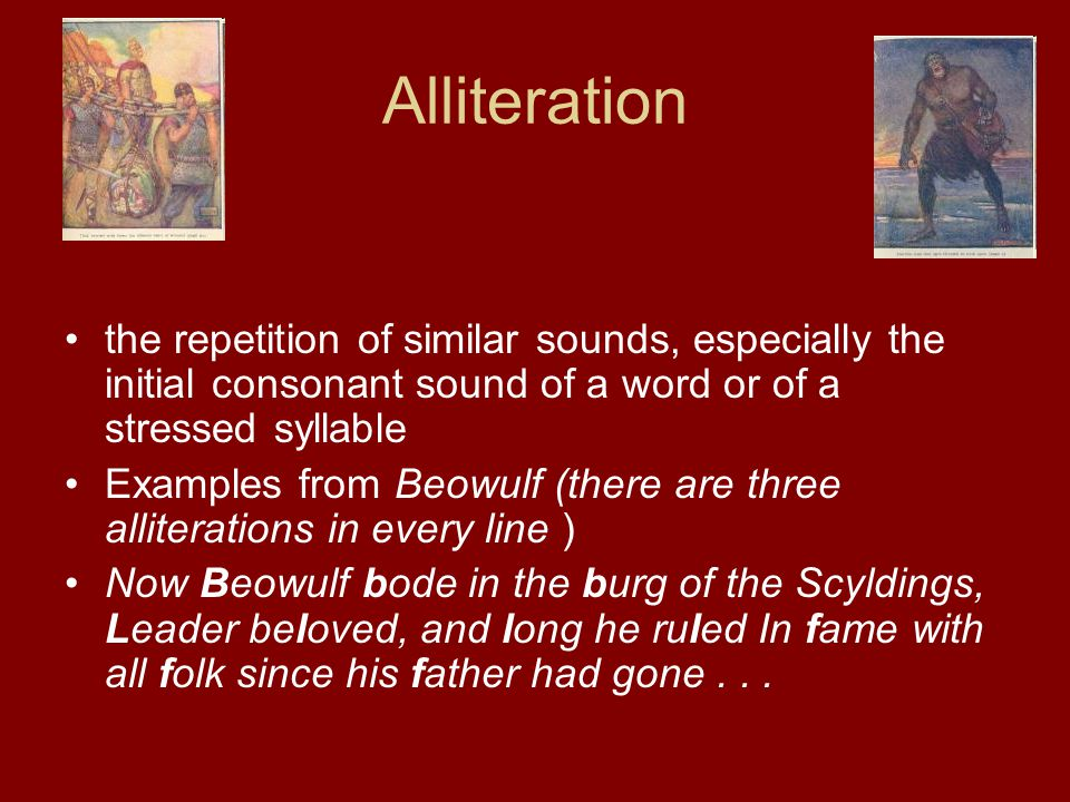Alliteration the repetition of similar sounds, especially the initial consonant sound of a word or of a stressed syllable.